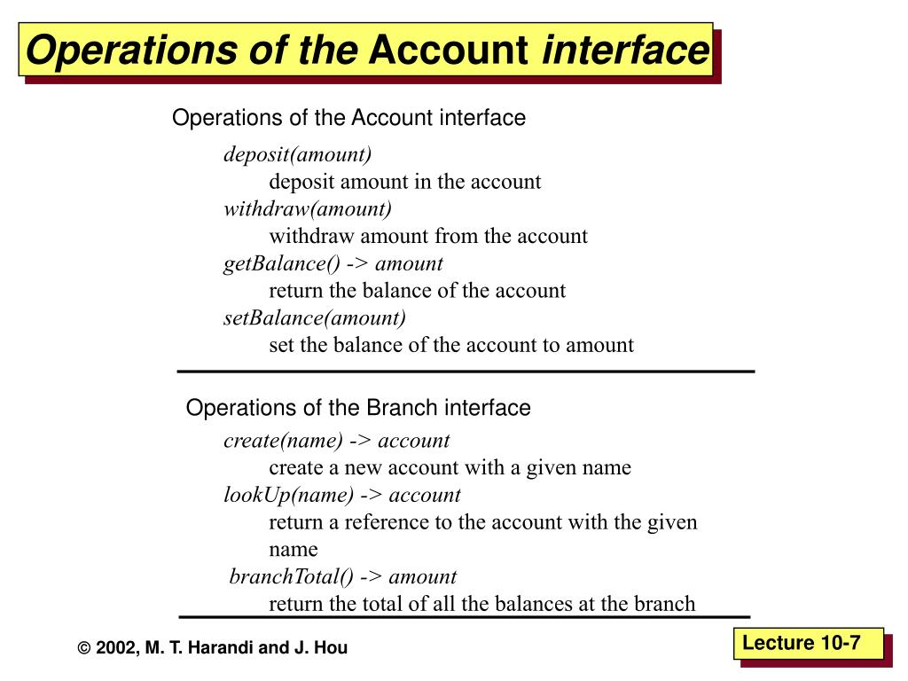 Operations of the