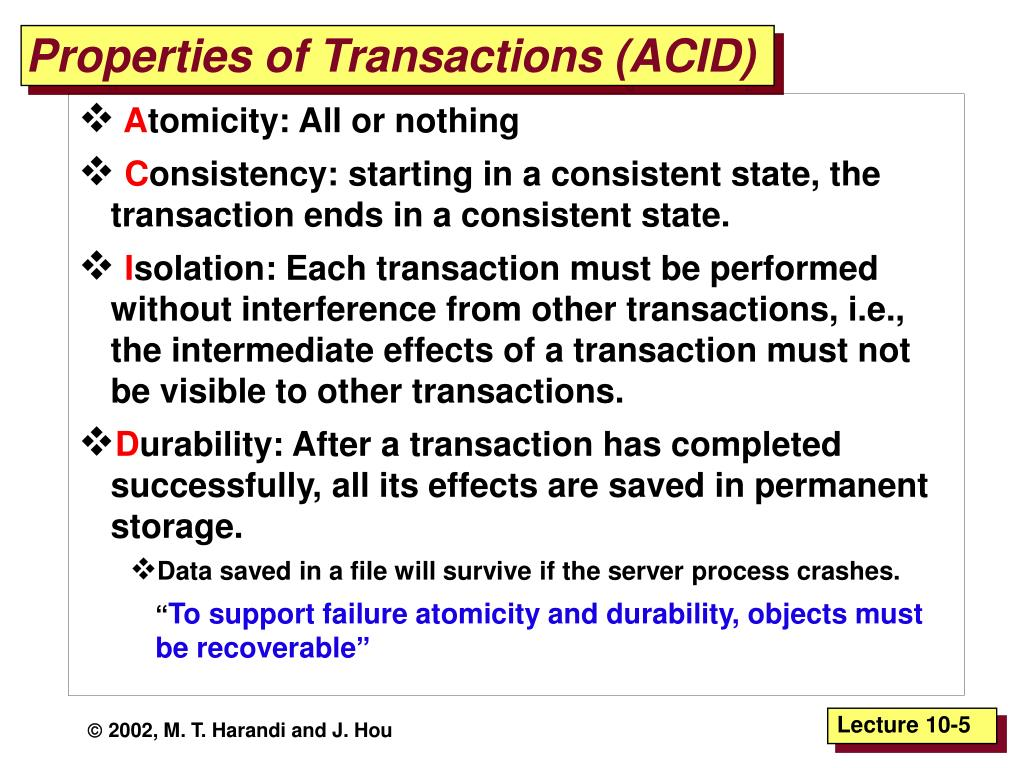 Properties of Transactions (ACID)