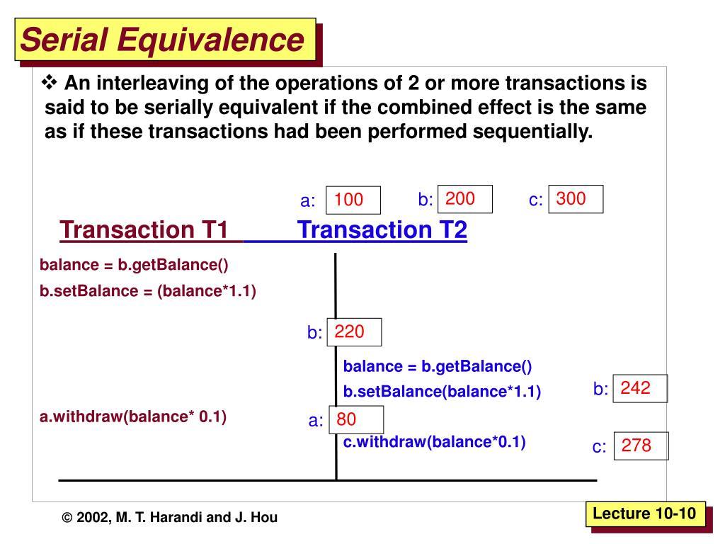 Serial Equivalence