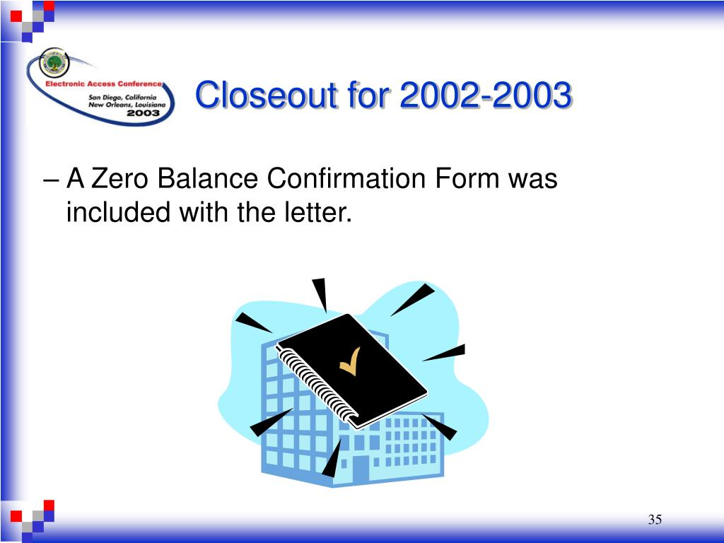 A Zero Balance Confirmation Form was included with the letter.