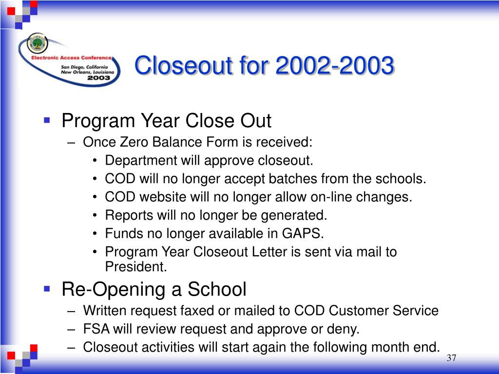 Closeout for 2002-2003