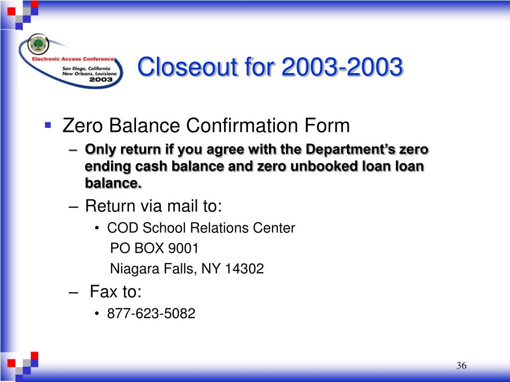 Closeout for 2003-2003
