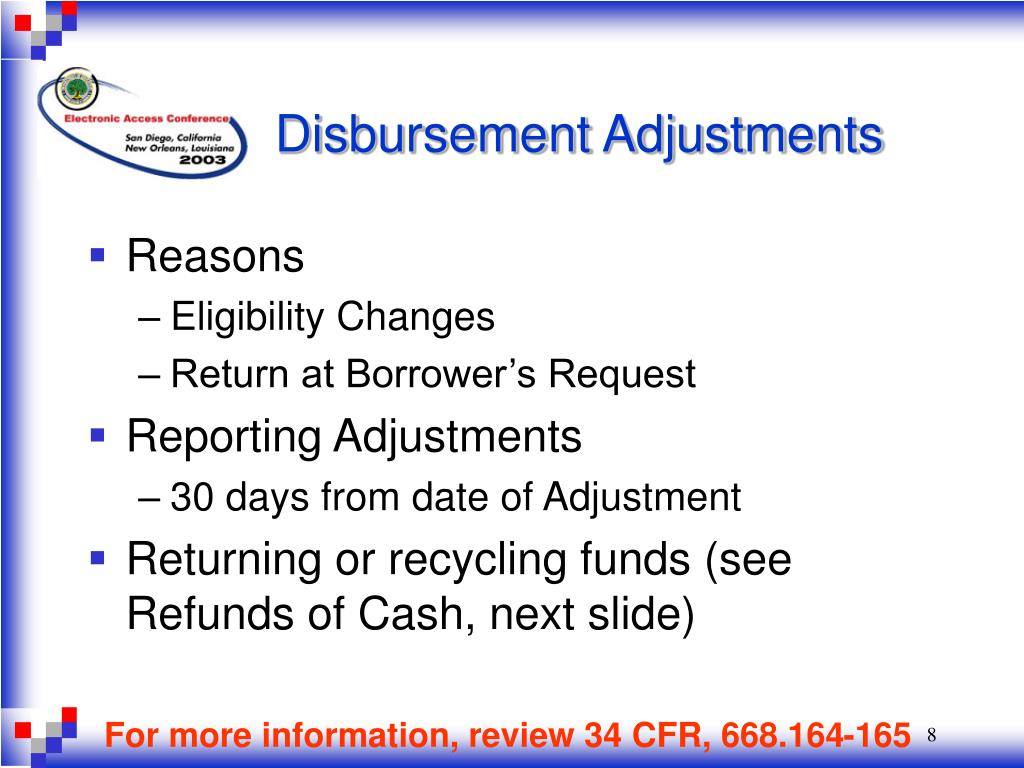 Disbursement Adjustments