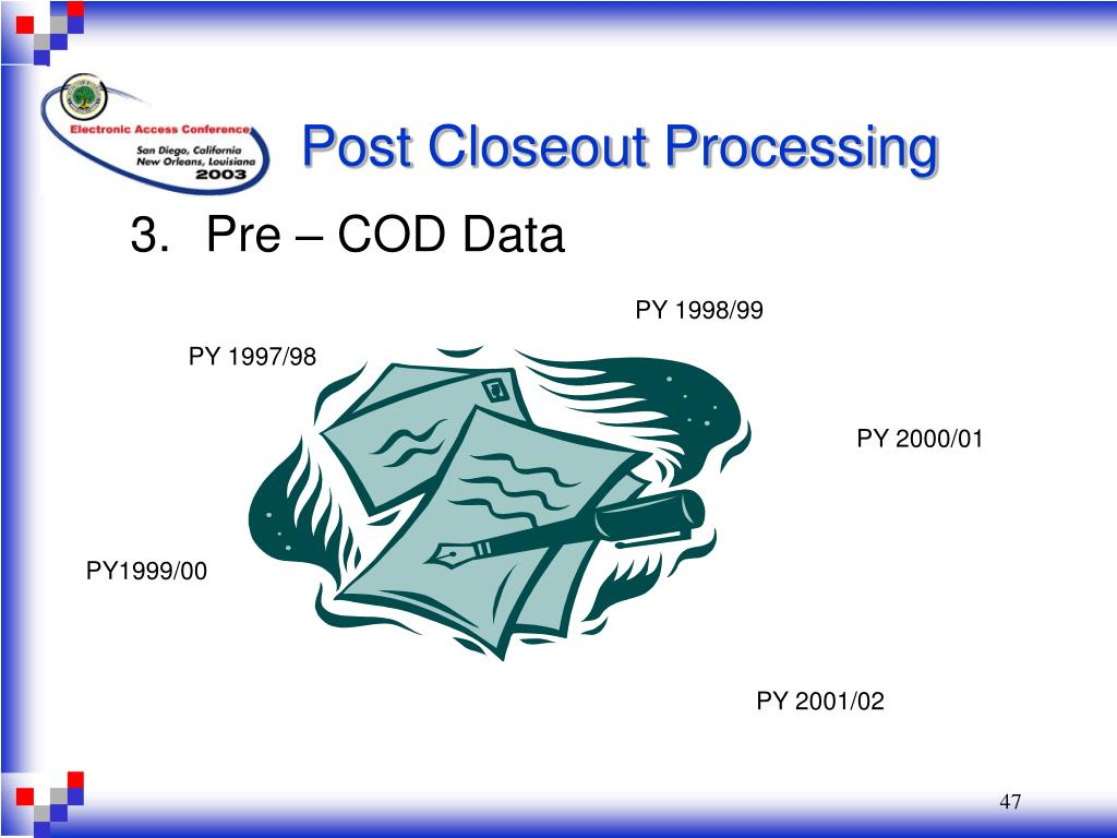 Post Closeout Processing