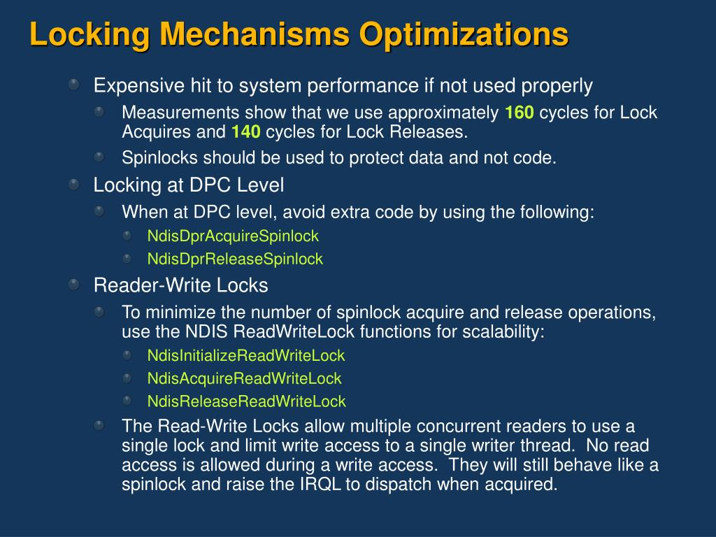 Locking Mechanisms Optimizations