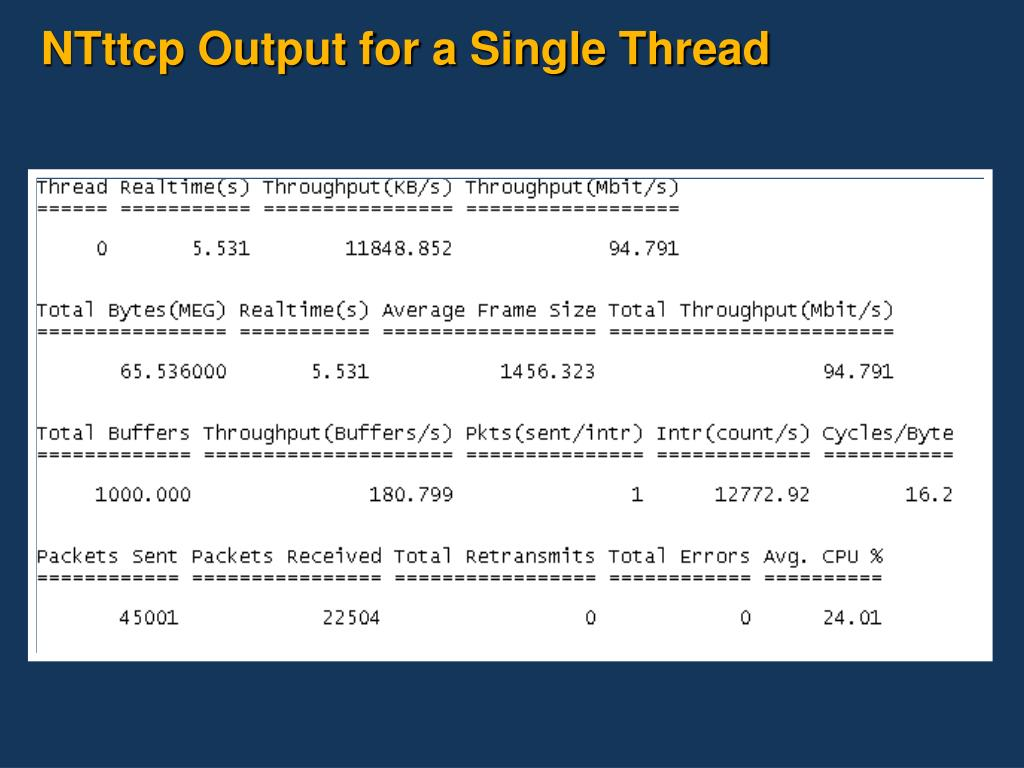 NTttcp Output for a Single Thread