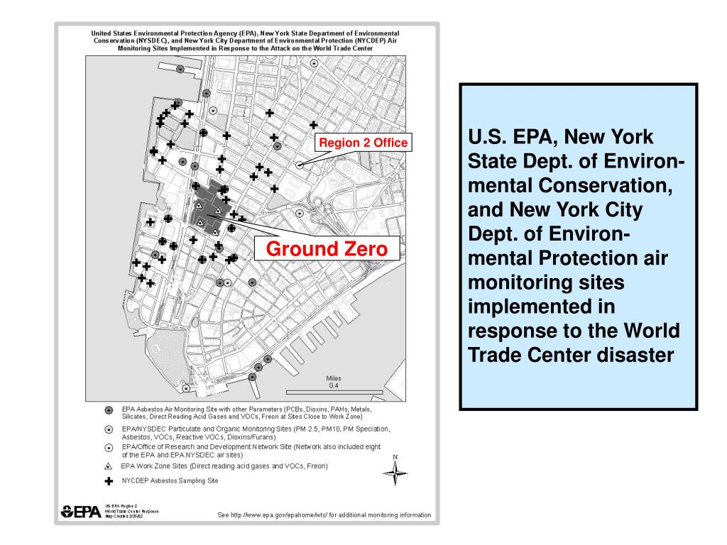 U.S. EPA, New York State Dept. of Environ-mental Conservation, and New York City Dept. of Environ-mental Protection air monitoring sites implemented in response to the World Trade Center disaster
