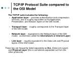 tcp ip protocol suite compared to the osi model