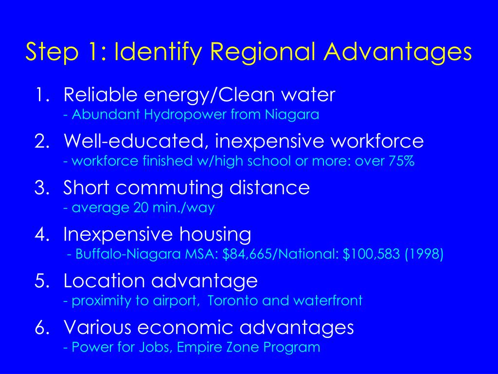 Step 1: Identify Regional Advantages
