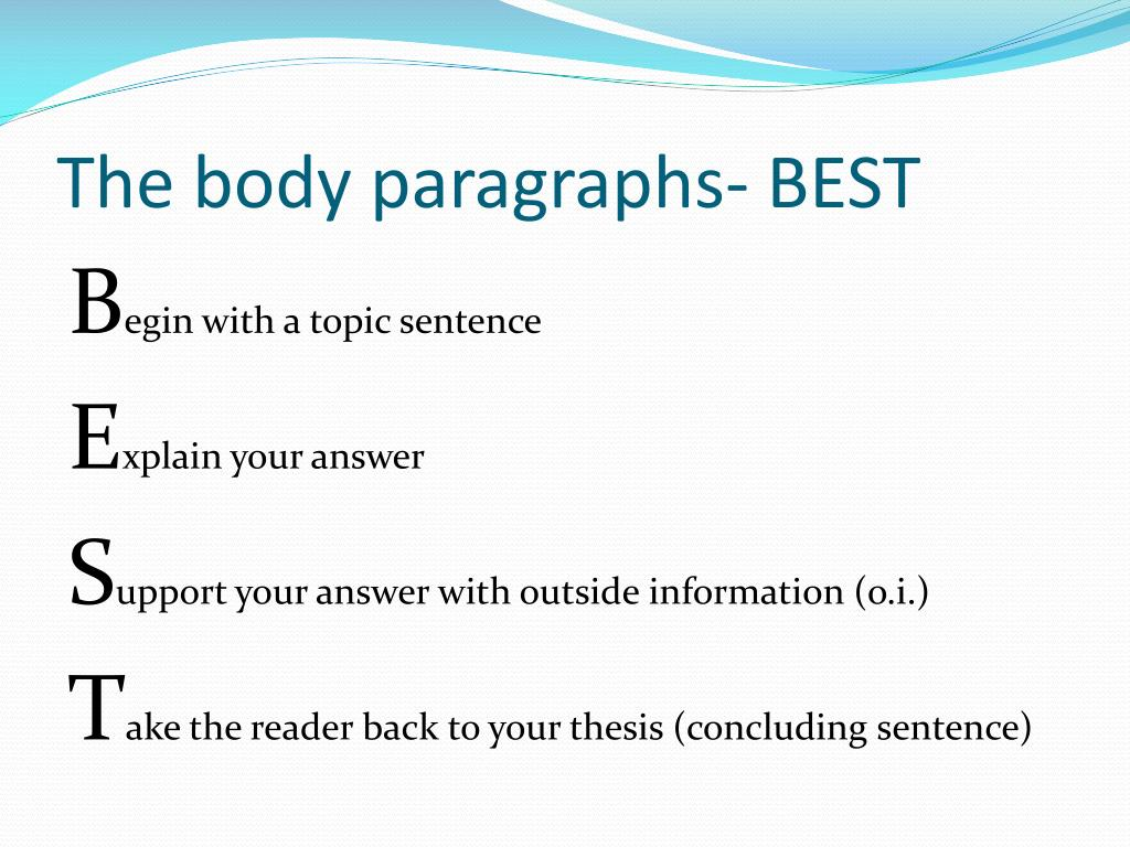 The body paragraphs- BEST