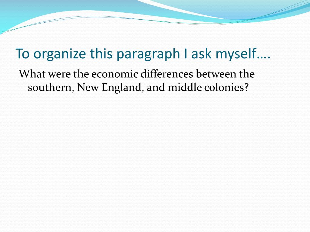 To organize this paragraph I ask myself….