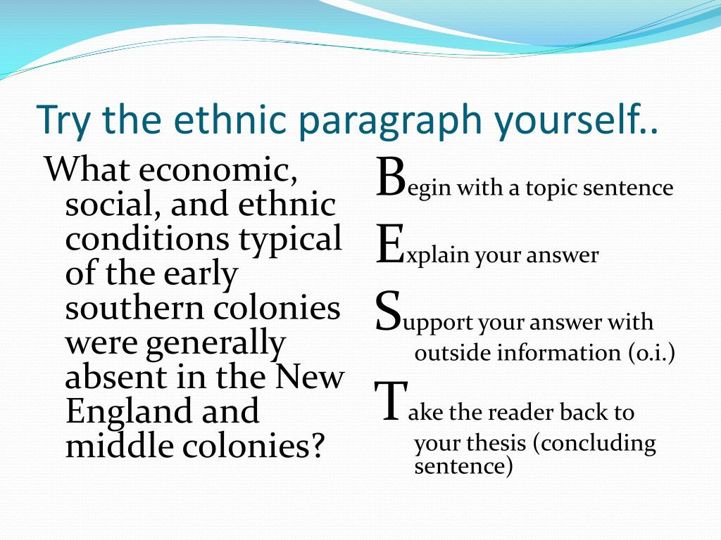 Try the ethnic paragraph yourself..