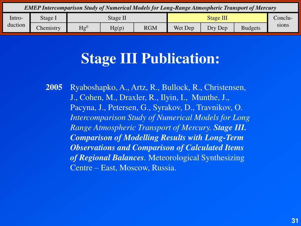 Stage III Publication: