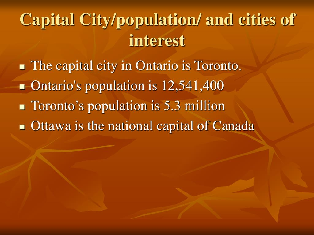 Capital City/population/ and cities of interest