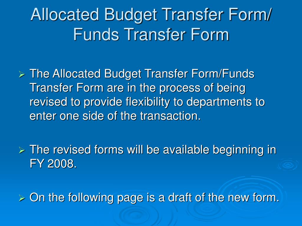 Allocated Budget Transfer Form/
