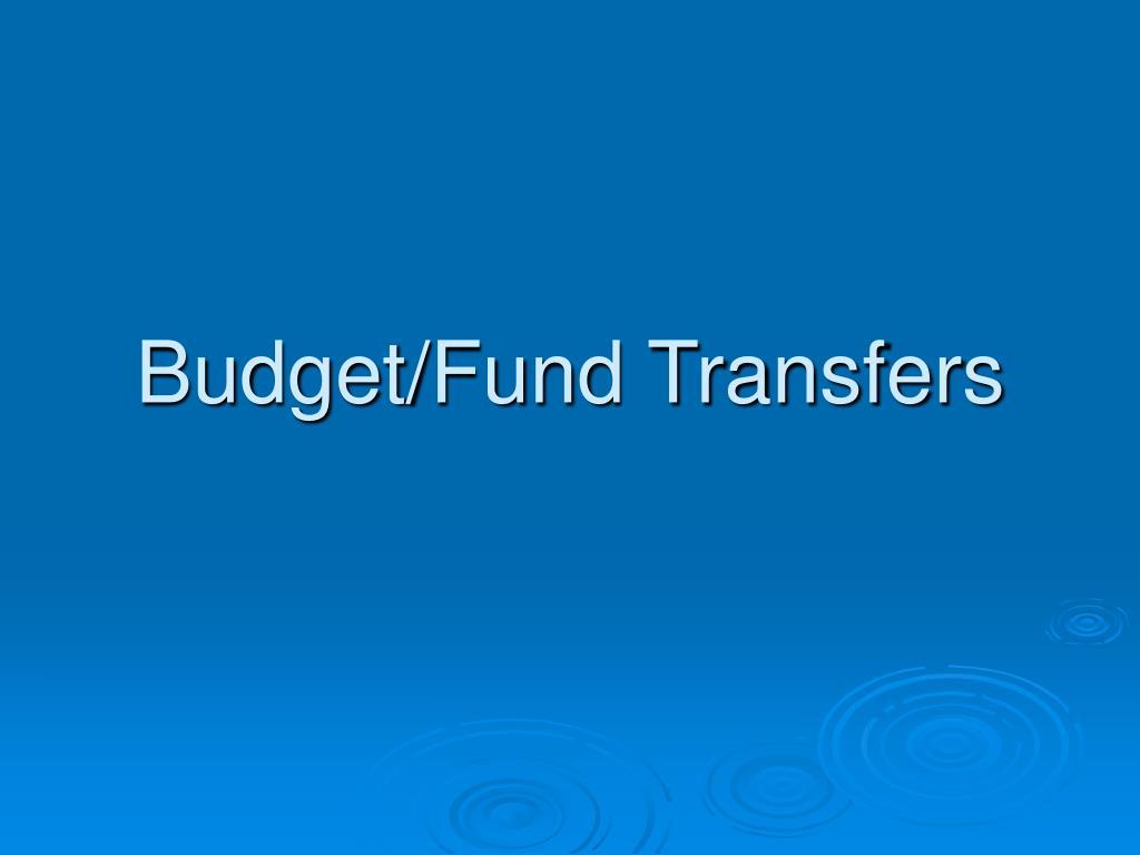 Budget/Fund Transfers