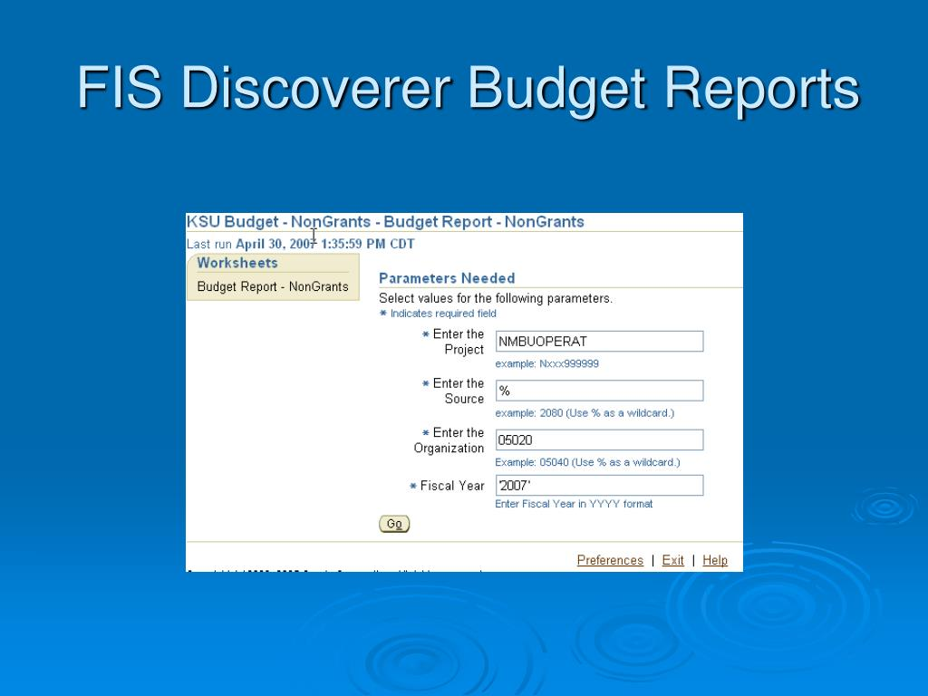 FIS Discoverer Budget Reports