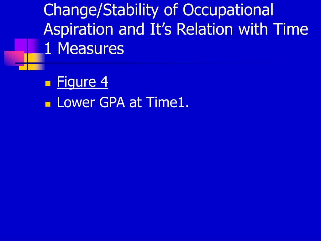 Change/Stability of Occupational Aspiration and It's Relation with Time 1 Measures
