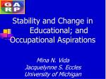stability and change in educational and occupational aspirations