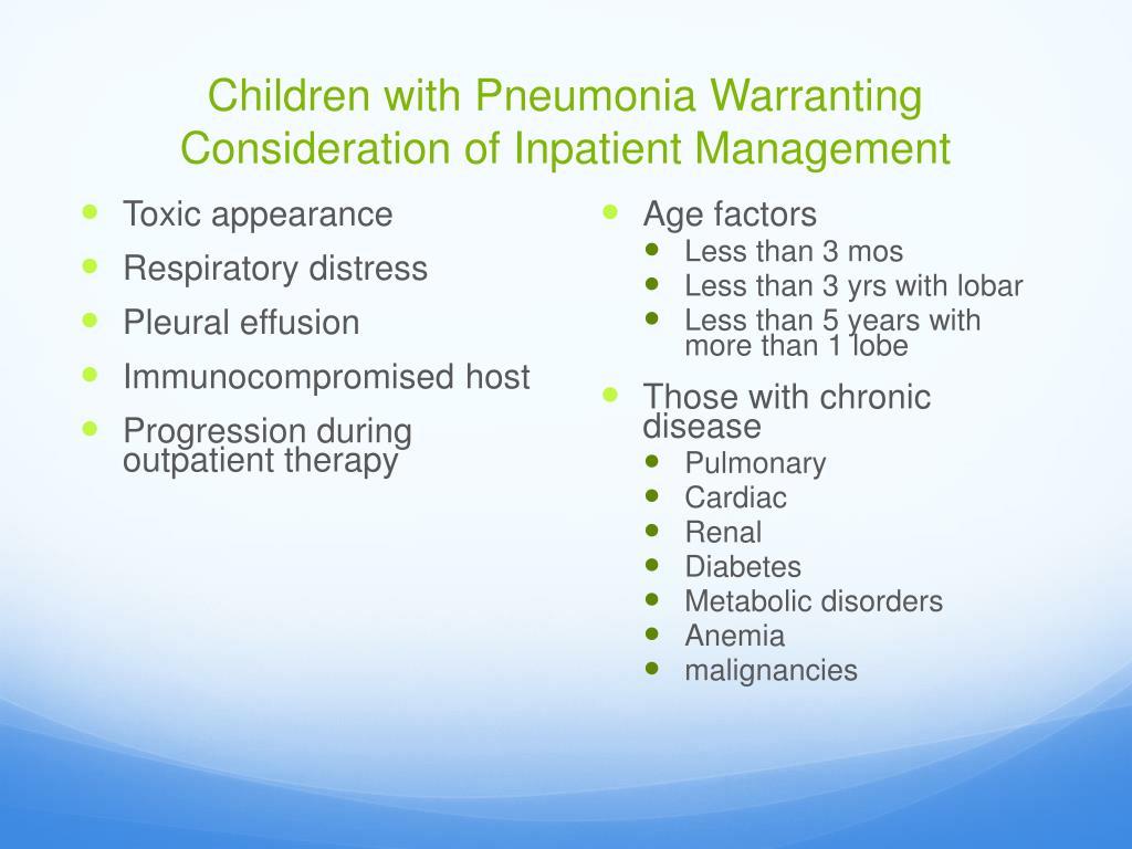 Children with Pneumonia Warranting Consideration of Inpatient Management