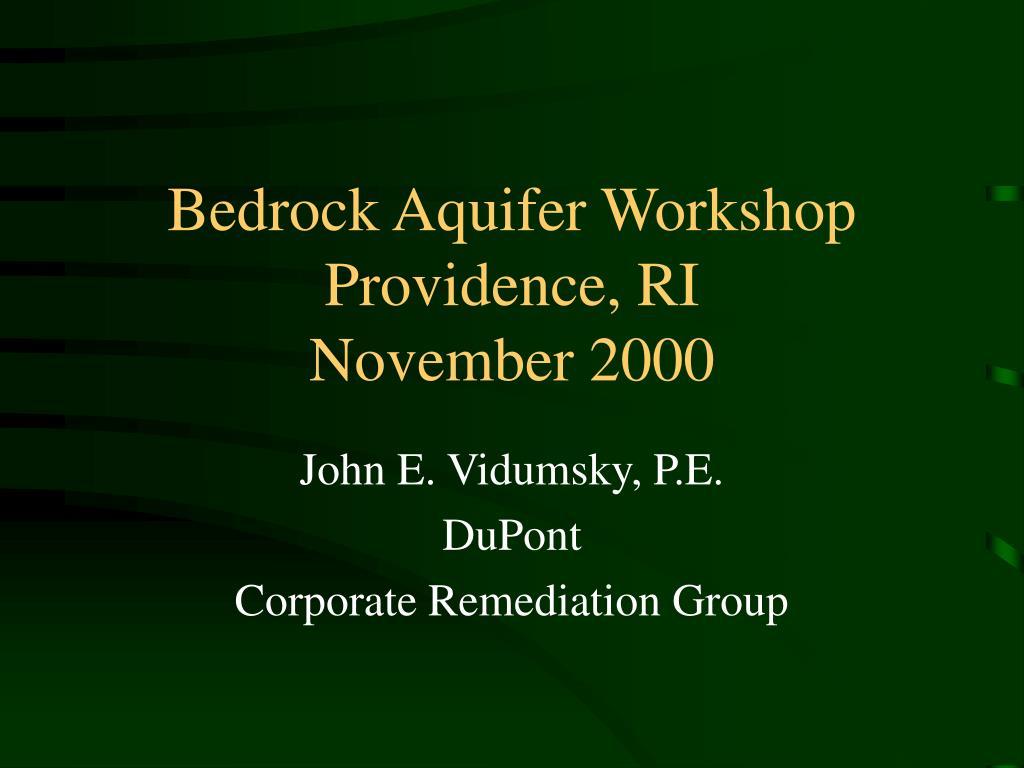Bedrock Aquifer Workshop