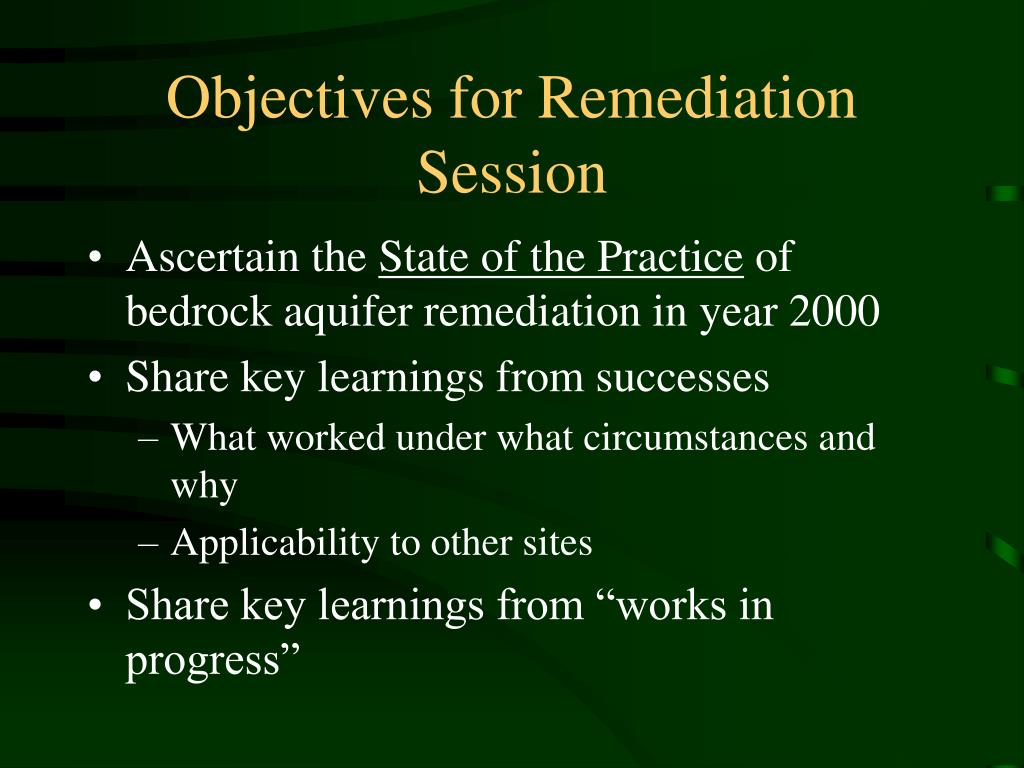 Objectives for Remediation Session