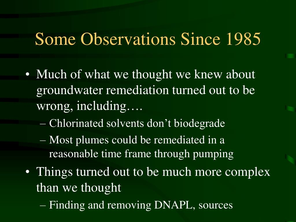 Some Observations Since 1985
