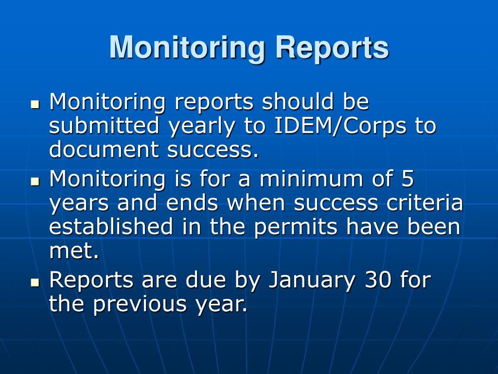 Monitoring Reports