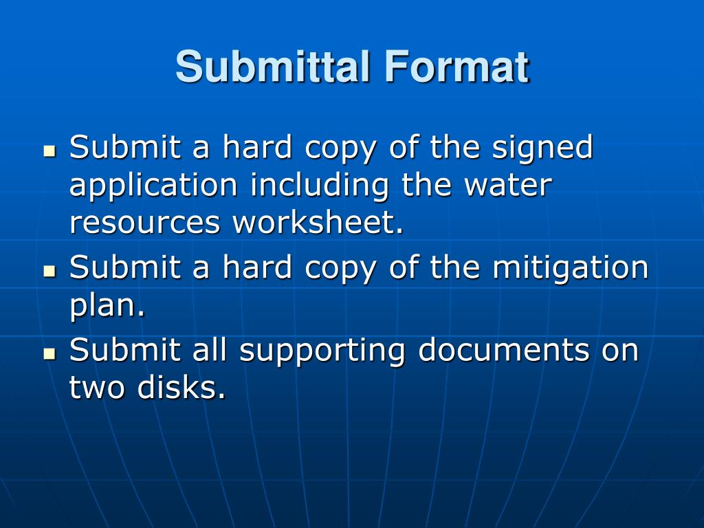 Submittal Format