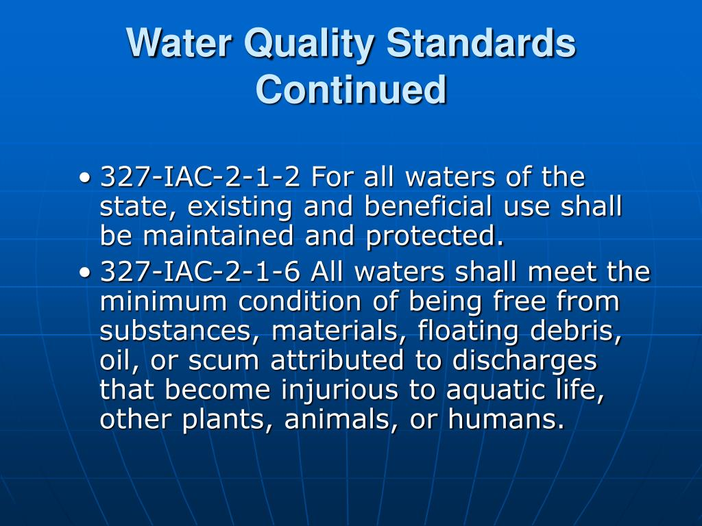 Water Quality Standards Continued