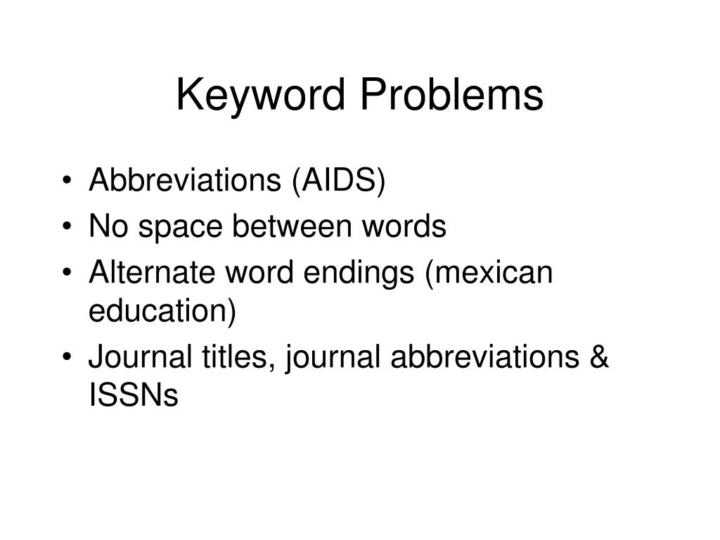 Keyword Problems