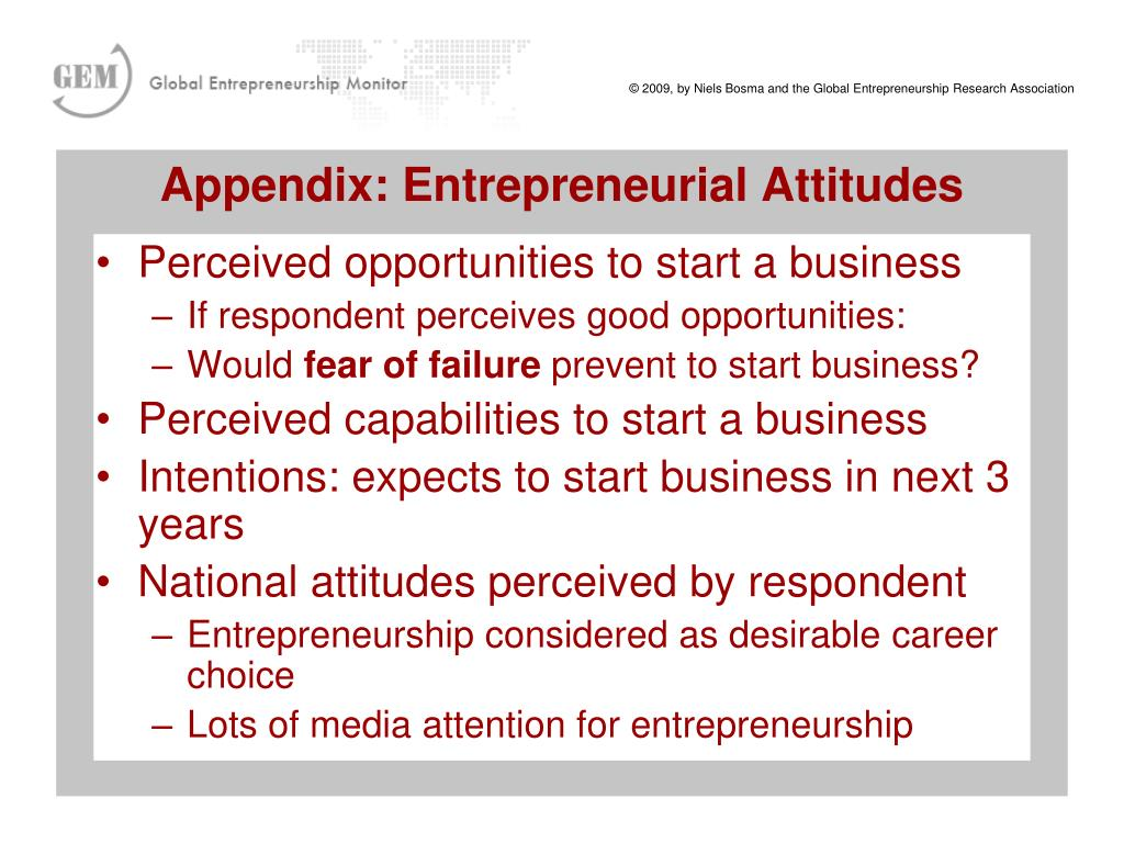 Perceived opportunities to start a business