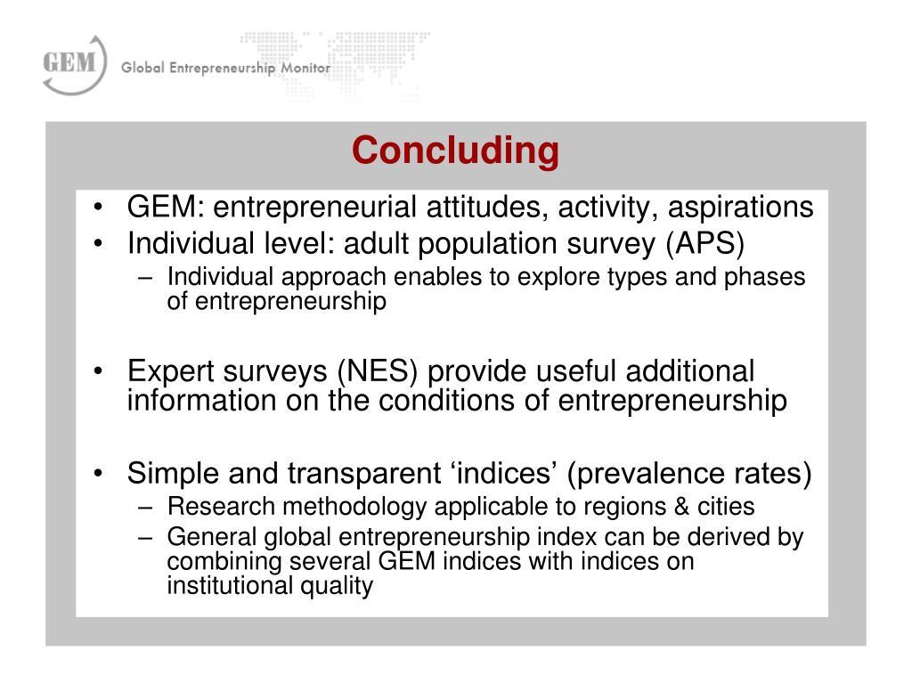 GEM: entrepreneurial attitudes, activity, aspirations