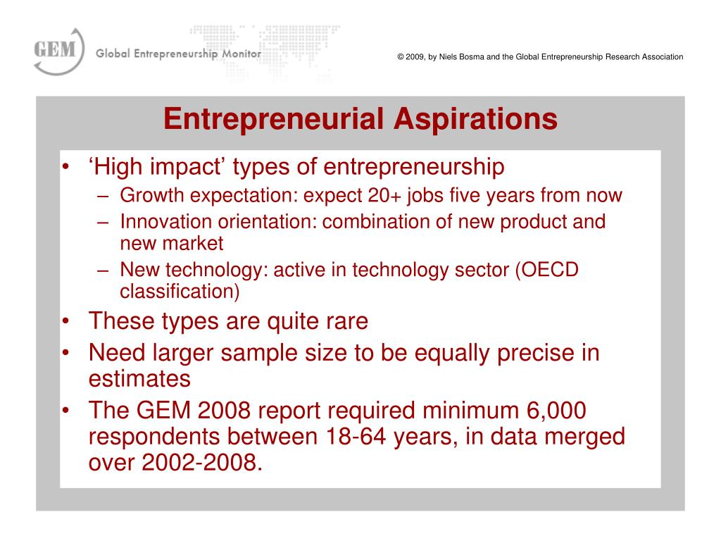 'High impact' types of entrepreneurship