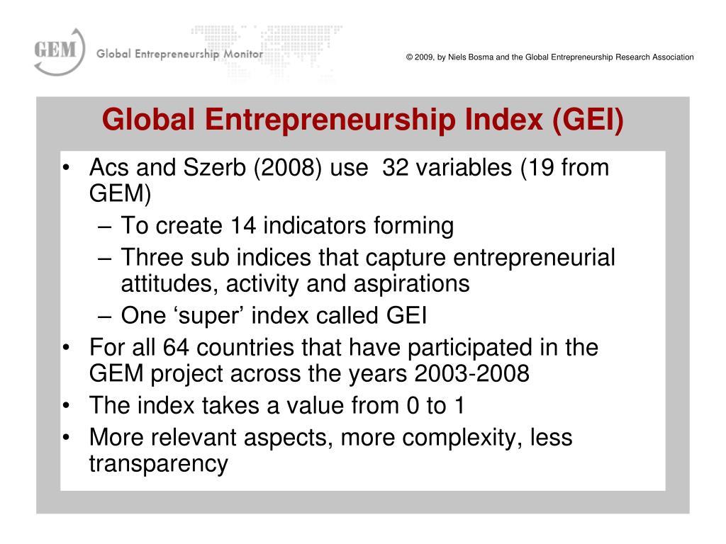 Global Entrepreneurship Index (GEI)