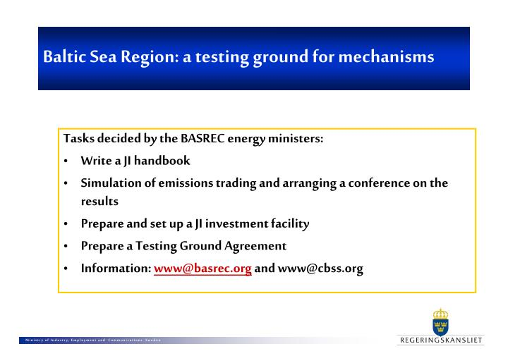Baltic sea region a testing ground for mechanisms