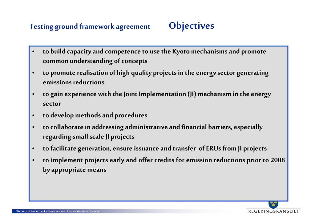 Testing ground framework agreement