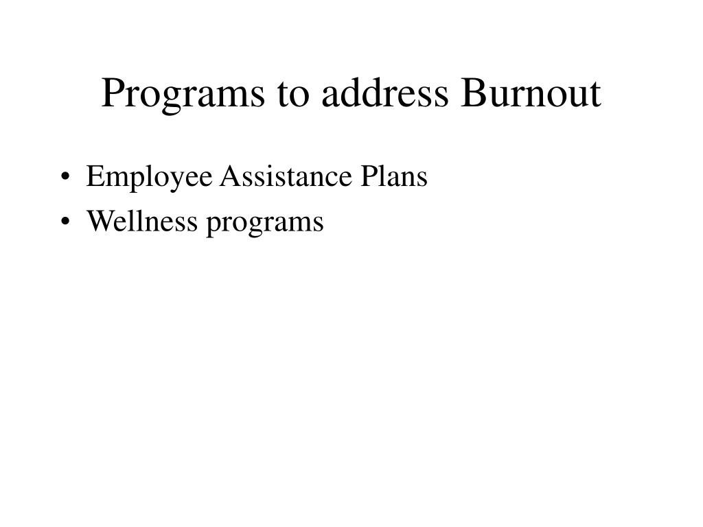 Programs to address Burnout