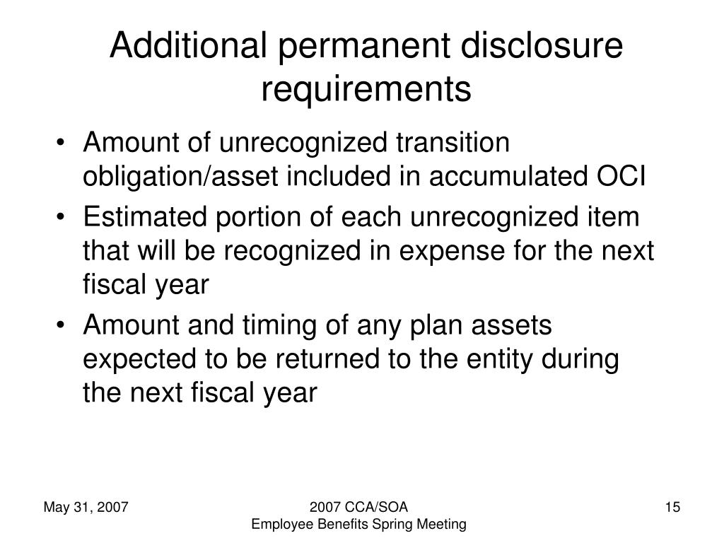 Additional permanent disclosure requirements