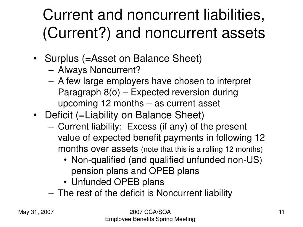 Current and noncurrent liabilities, (Current?) and noncurrent assets