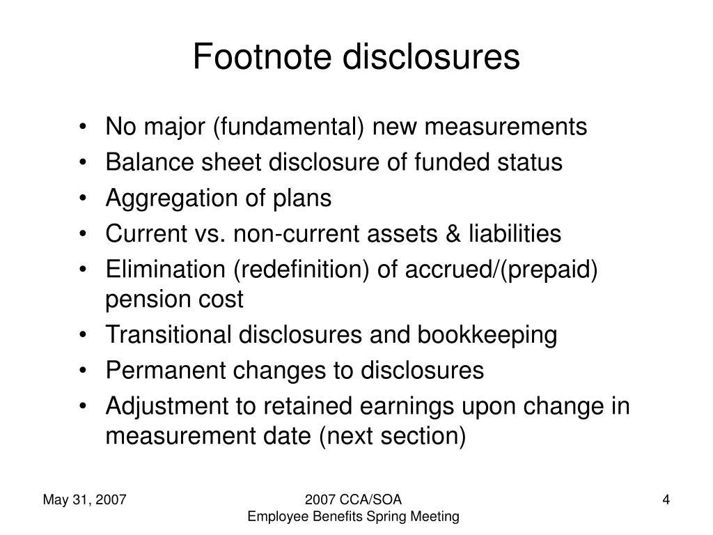 Footnote disclosures
