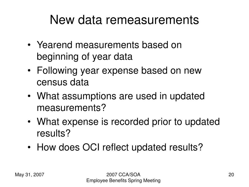 New data remeasurements
