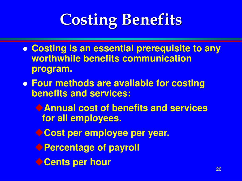 Costing Benefits