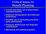 critical issues in benefit planning