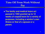 time off from work without pay