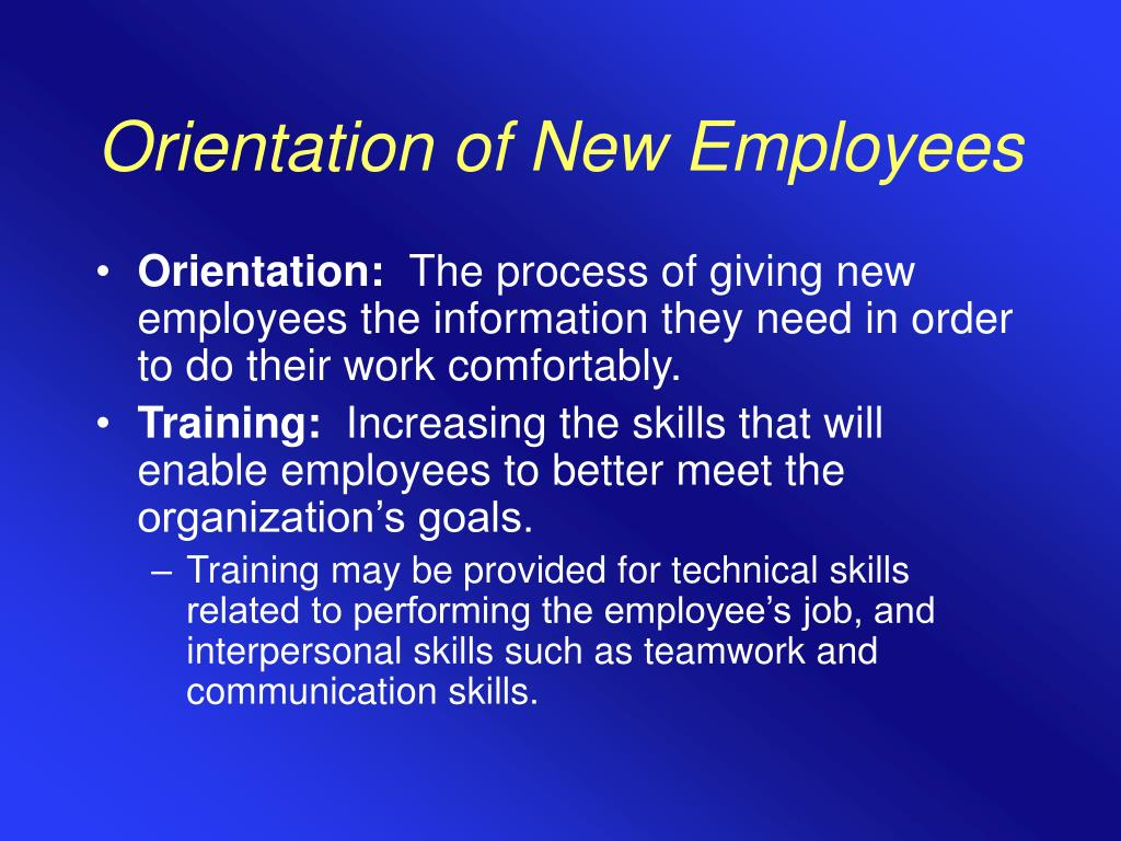 Orientation of New Employees