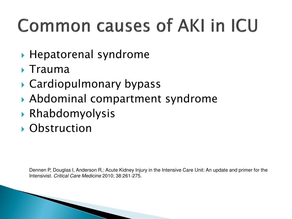 Common causes of AKI in ICU