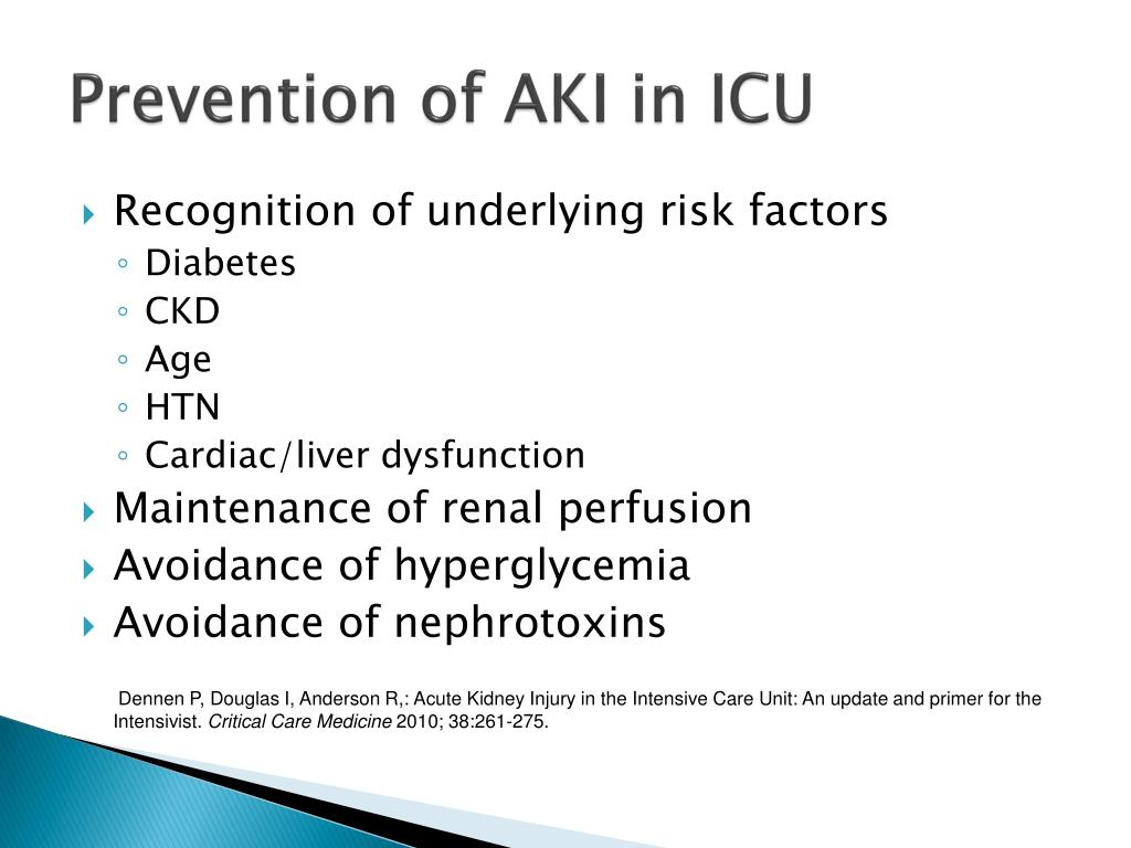 Prevention of AKI in ICU