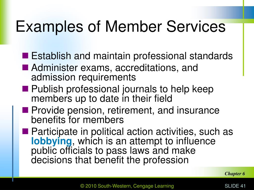 Examples of Member Services