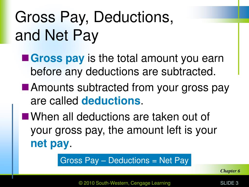 Gross Pay, Deductions,